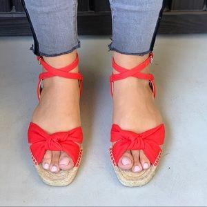 Harpoon Red Twisted Knott Espadrille Jute Sandal